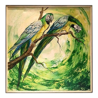 Vintage Original Oil on Canvas Birds Painting, Signed