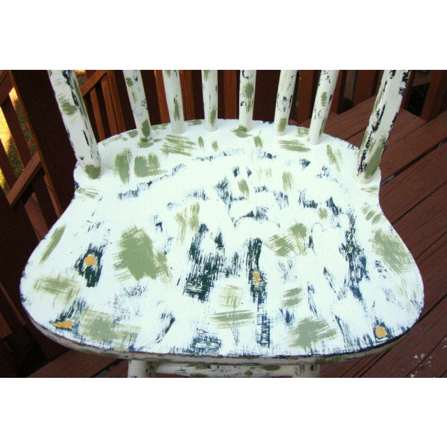 Country Cottage Hand Painted Distressed Bar Stool - Image 5 of 11