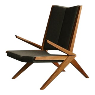 "Scandinavian Solid Walnut ""The Croc"" Accent Armchair"