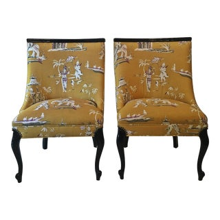 Pagoda/Chinoiserie Style Upholstered Accent Chairs - a Pair