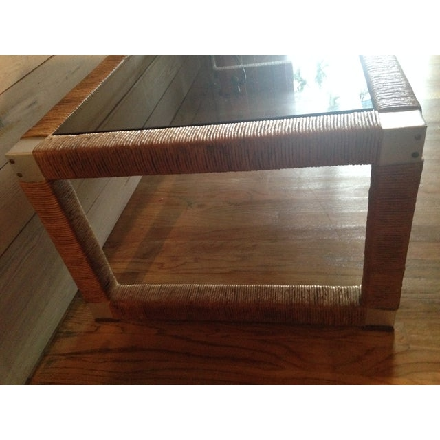 Wicker and Glass Top Coffee Table - Image 5 of 8