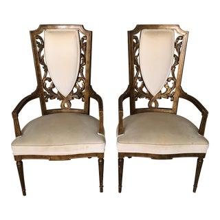 Mid-Century High Back Armchairs - A Pair