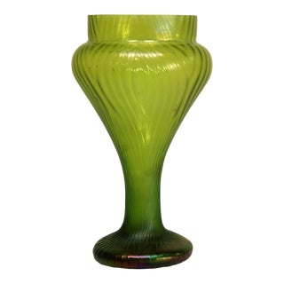 Bohemian Green Art Glass Vase
