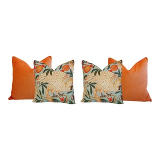 Orange Velvet Tropical Parrot & Pomegranate Feather Down Pillows - Set of 4