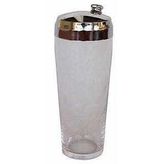 Vintage Etched Glass Cocktail Shaker