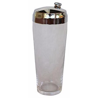 Vintage Etched Glass Cocktail Shaker