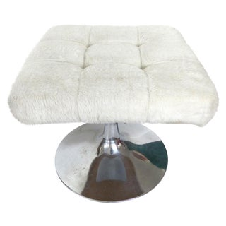 Mid-Century Tufted White Faux Fur & Chrome Stool