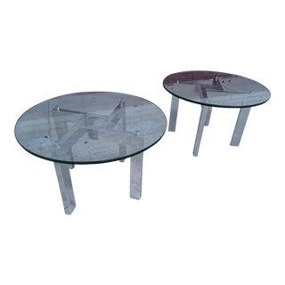Mid-Century Chrome End Tables - A Pair
