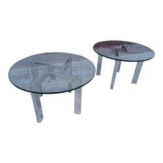 Mid-Century Chrome End Tables - A Pair
