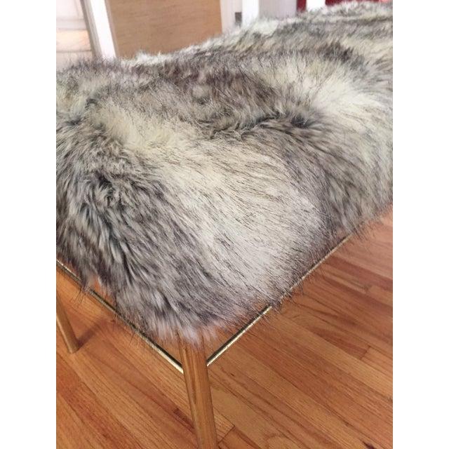 Image of Faux Fur Hollywood Regency Brass Bench