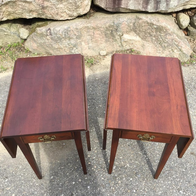 Cherry Drop Leaf End Tables - A Pair - Image 10 of 11