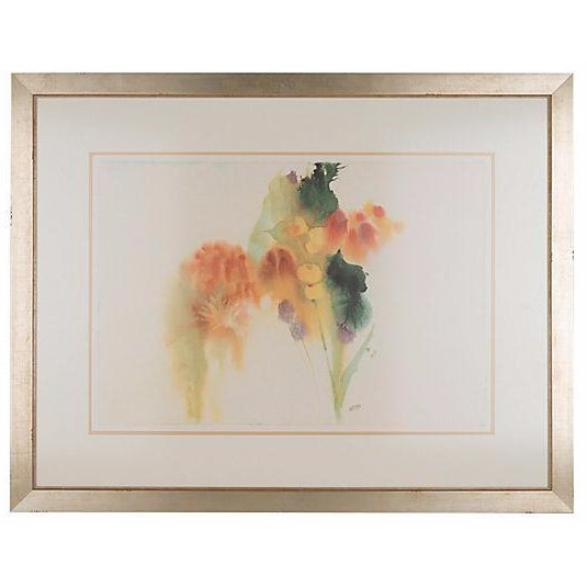 Image of Abstract Floral Lithograph by Barbara Nechis