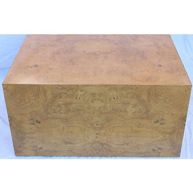 Image of Burl Wood Cube Coffee Table Attr. to Baughman