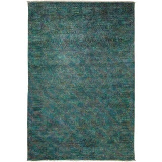 """Vibrance, Hand Knotted Teal Wool Area Rug - 6' 0"""" X 8' 10"""""""