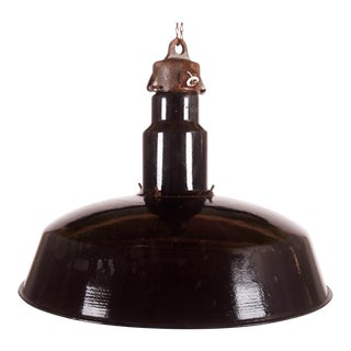 Large Enameled Czech Industrial Ceiling Lamp, 1960s
