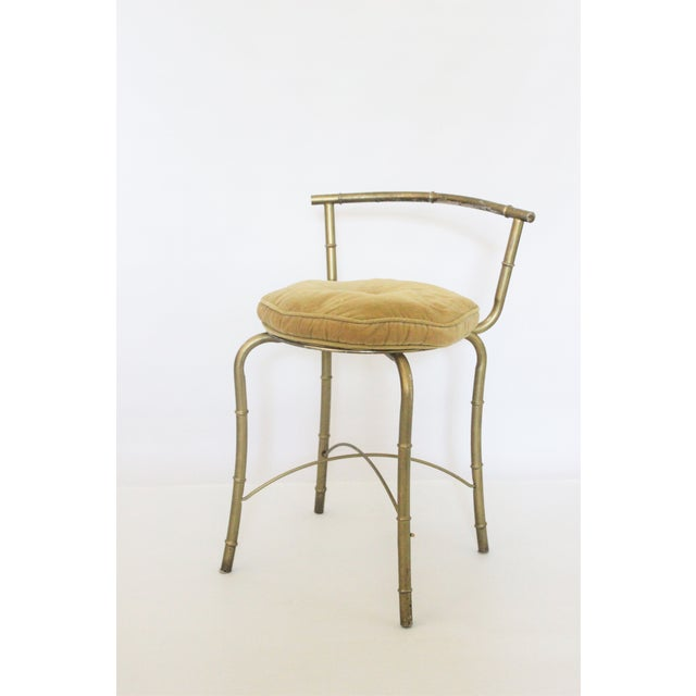 Image of Vintage Gold Metal Faux Bamboo Vanity Stool