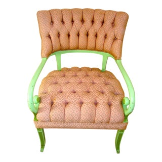 Vintage Regency Scrolled Arm Pink & Green Chair