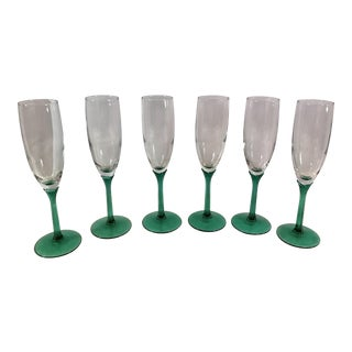 Green Stem Champagne Flutes - Set of 6
