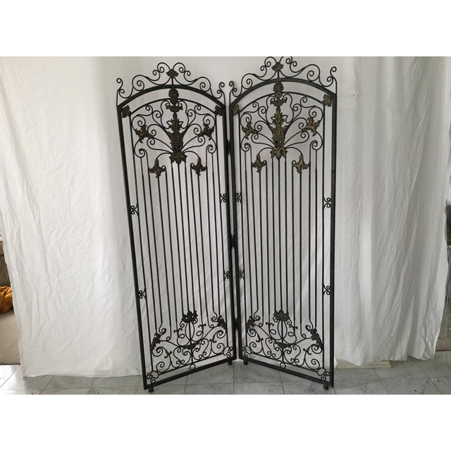 Ornate Heavy Iron Folding Screen - Image 5 of 7