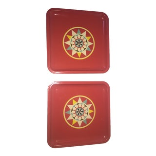Retro Red Metal Trays - A Pair