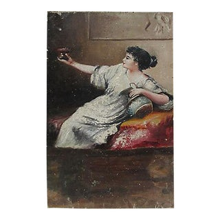 Antique French Femme Figural Oil on Wood Painting
