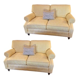 Yellow Damask Loveseats - A Pair