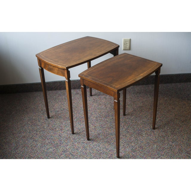 Image of Baker Mid-Century Walnut Nesting Tables - A Pair