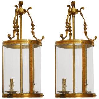 French Brass Round Lanterns- A Pair