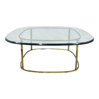 Mid-Century Modern Brass & Glass Coffee Table