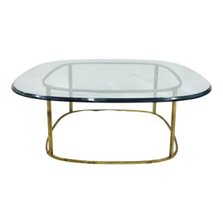 Mid-Century Modern Brass & Glass Coffee Table