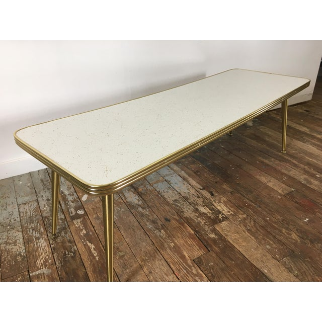 Image of Mid-Century Brass & Formica Coffee Table