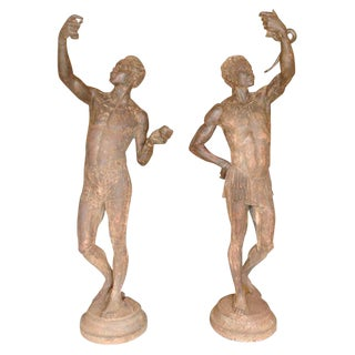 Life Size Exceptional and Rare Pair of Cast Iron Blackamoors