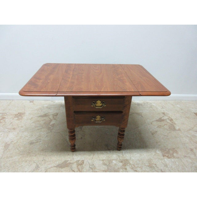 Ethan Allen Heirloom Formica Top Drop Leaf Nutmeg End Table - Image 3 of 11