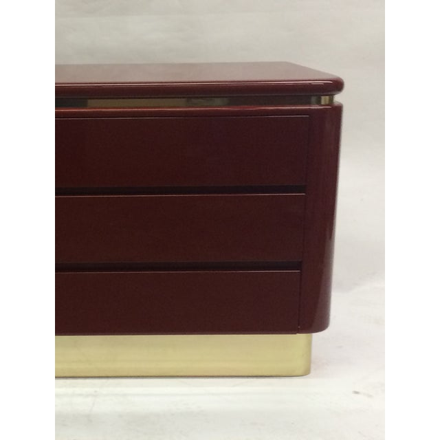 Image of Red Lacquer Hollywood Regency Dressers - A Pair