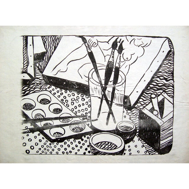 Black & White Artist Studio Lithograph - Image 2 of 3