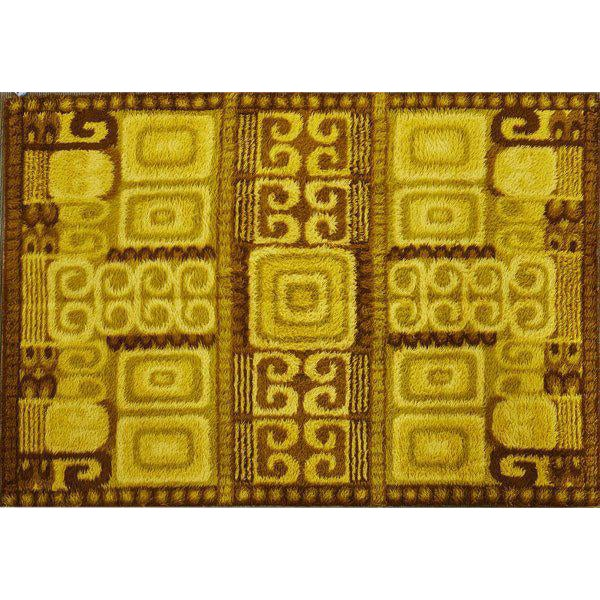 Large & Thick Swedish Rya Wool Rug With Abstract Cubist Detail by Ege - 6' X 9', Circa 1960s - Image 1 of 2