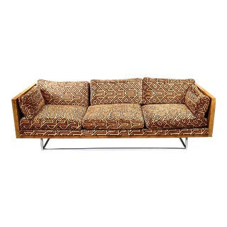 Milo Baughman Burl Wood & Chrome Sofa