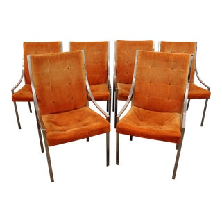 Milo Baughman Dillingham Mid-Century Danish Modern Chrome Dining Chairs - Set of 6
