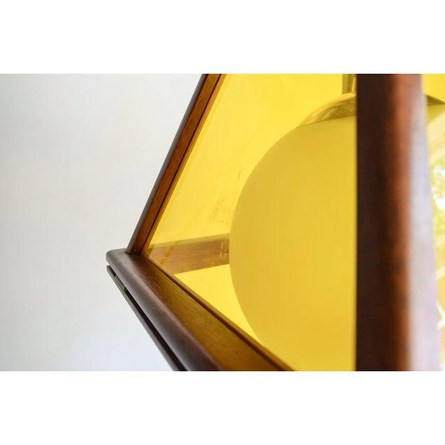 Mid-Century Teak & Yellow Pendant Light - Image 10 of 11