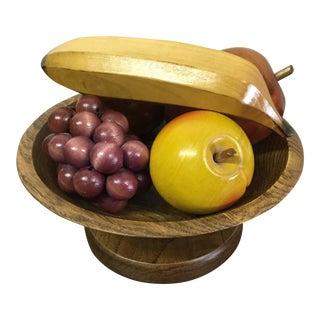 Wooden Bowl & Wooden Fruit