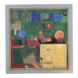 Original Painting of Aga Stove and Kitchen Interior