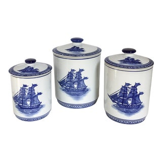 Blue & White Nautical Clipper Ship Canisters, Set of 3