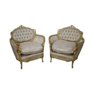 Vintage Carved & Painted French Louis XV Style Bergere Chairs - A Pair