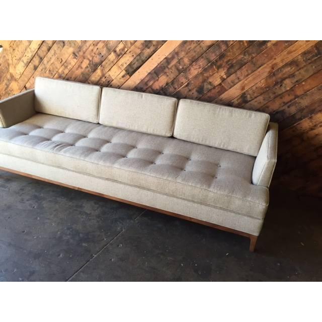 mid century style oatmeal custom sofa chairish. Black Bedroom Furniture Sets. Home Design Ideas