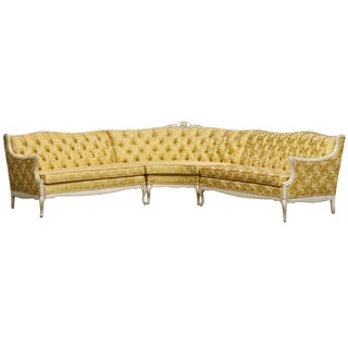 Louis XV Style Tufted Sectional Sofa in Antique White & Gold