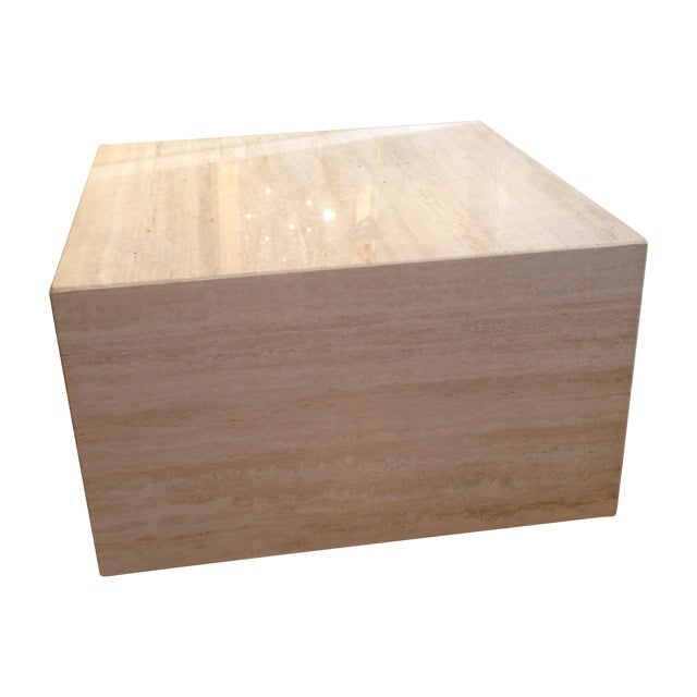 Vintage Travertine Cube Table - Image 1 of 7
