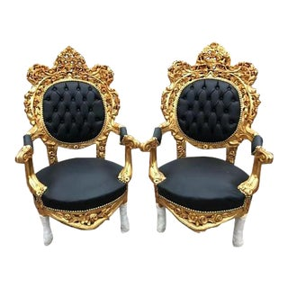 Pair of Black & Gold Italian Baroque/Rococo Style Chairs