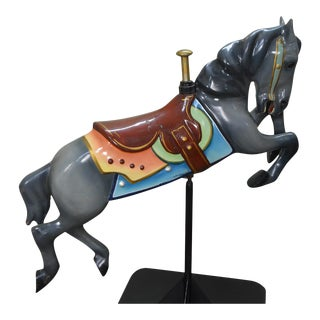 Vintage Metal Carousel Leaping Horse on Stand