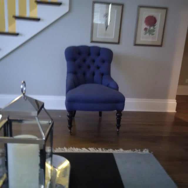Jayson Home & Garden Blue Tufted Chairs - A Pair - Image 2 of 4