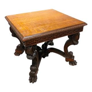 Antique Lion Foot Oak Center Table